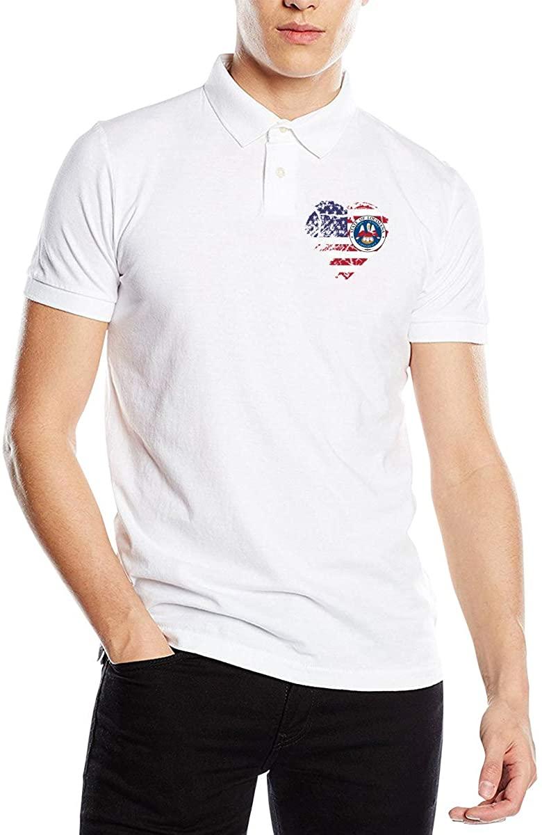 Louisiana USA Flag Heart Classic Cotton Shirt Men's Polo Shirt Golf Polo Shirt
