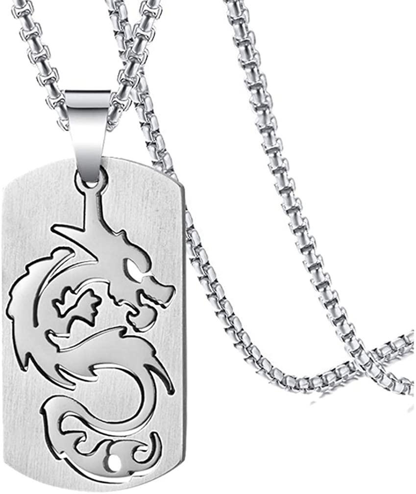 Xusamss Hip Hop Titanium Steel Dragon Dog Tag Pendant Necklace,24 Chain