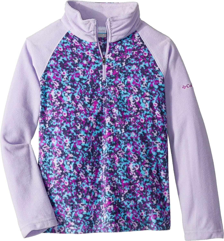 Columbia Kids Girls Glacial II Fleece Print Half Zip (Little Kids/Big Kids) Atoll Floral Print/Soft Violet XL (18-20 Big Kids)