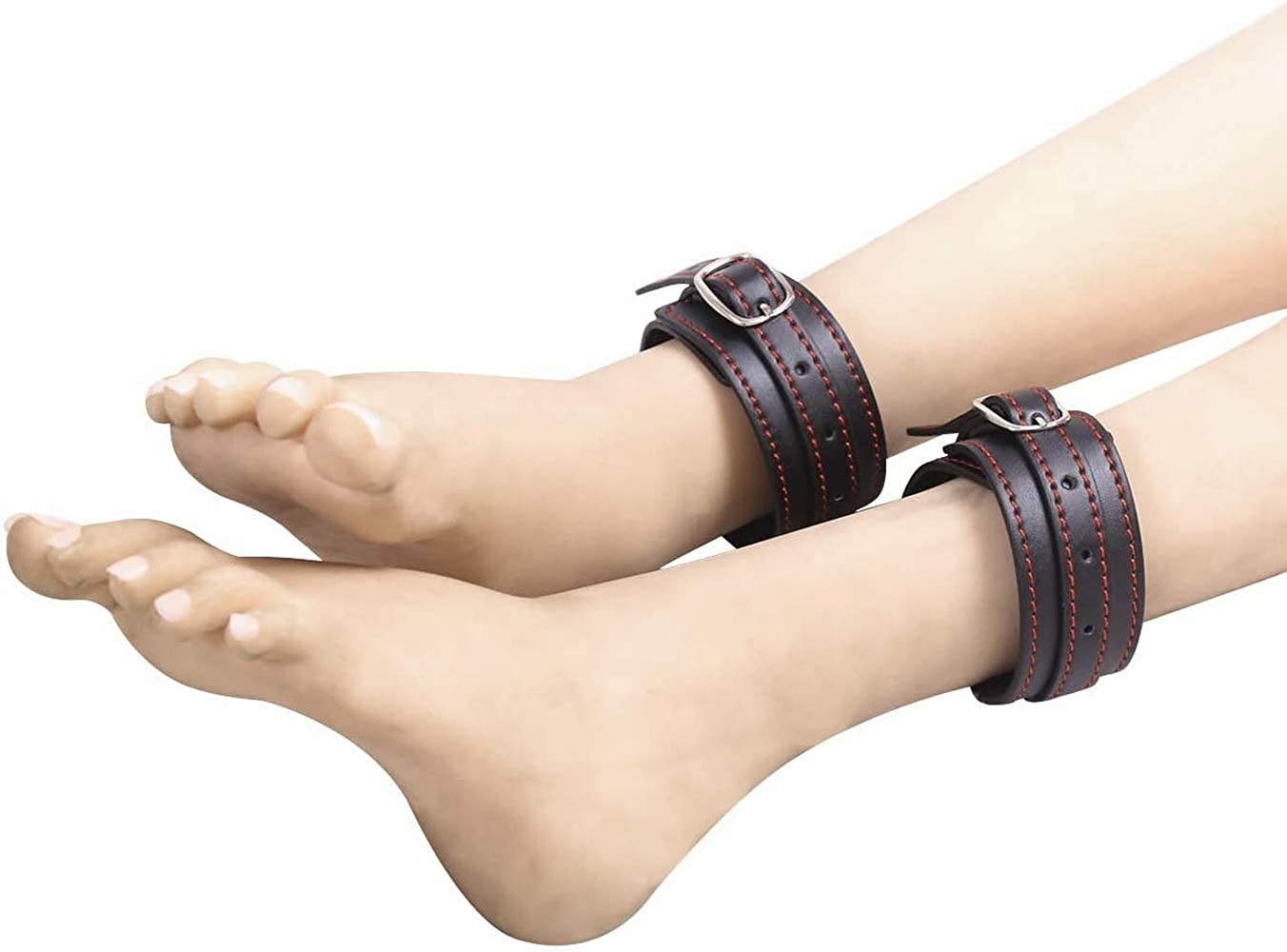 Handcuffs Leather red Thread Black Tied Hands Tied feet Clasp fun Gift For Women black