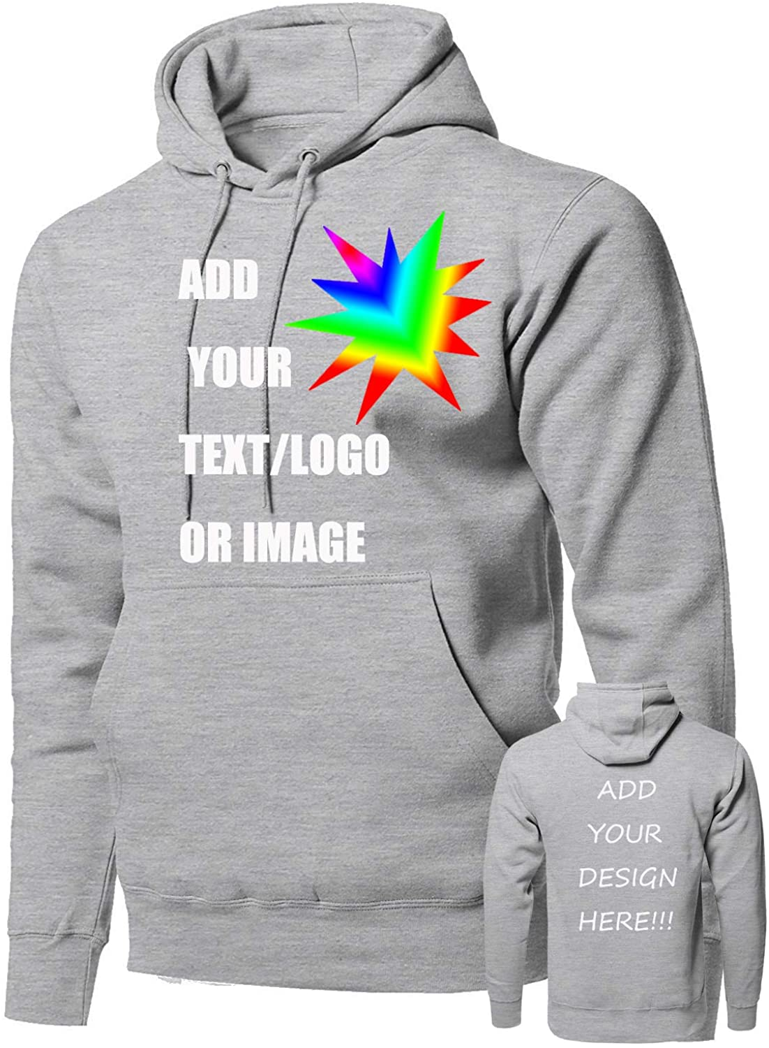 Custom Personalized Men Pullover Sweatshirt Hoodie-Double Design-Add Anything(Black/Large Size)