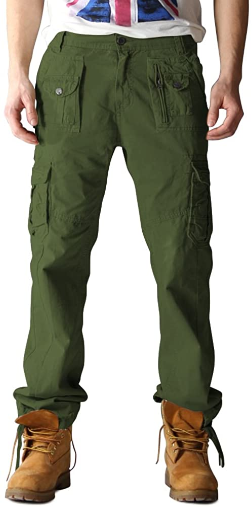 OCHENTA Men's Cotton Washed Multi Pockets Military Cargo Pant #3380 Army Green 33