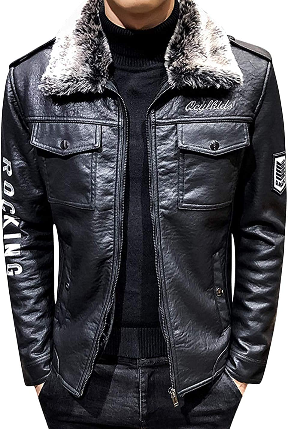 Qhghdgysd Mens Full Zipper Fur Collar Sherpa Lined Faux Leather Coat Jacket