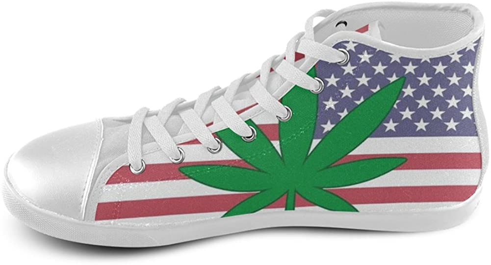 MHIHT Weed and American Flag Boys Girls High Top Classic Casual Canvas Fashion Shoes Trainers Sneakers,White