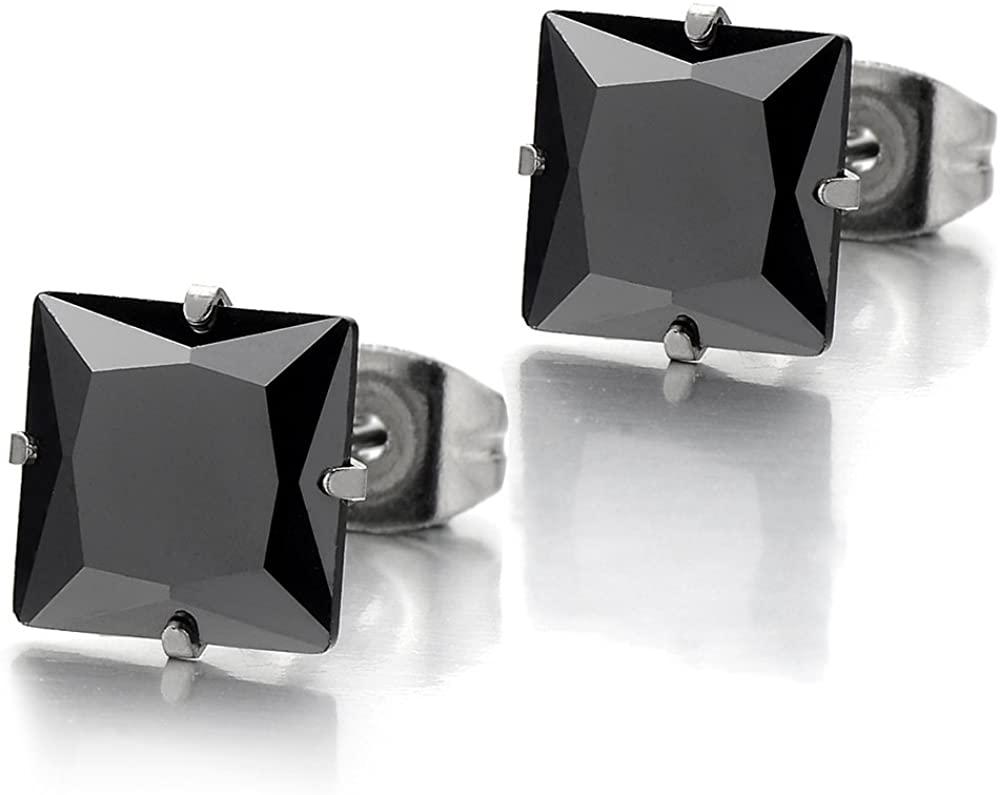 4-9mm Black Square Cubic Zirconia Princess Cut Stud Earrings for Men Women Stainless Steel, 2pcs