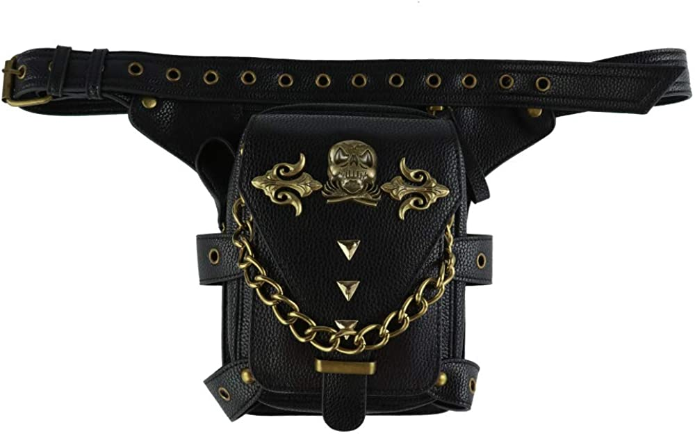 steel master Steampunk Waist Bag Gothic Leather Cross Body Bags Victorian Women Shoulder Bags