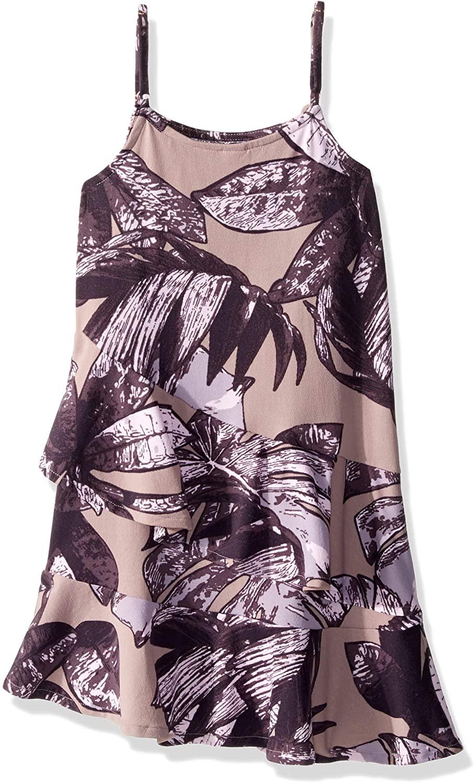 Maaji Girls' Printed with Asymmetic Ruffle Tank Dress