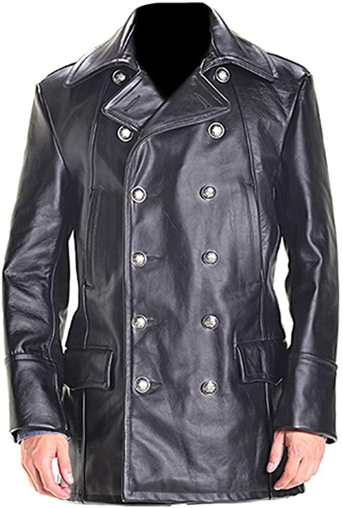 Classyak Mens Military Cow Leather Black Jacket