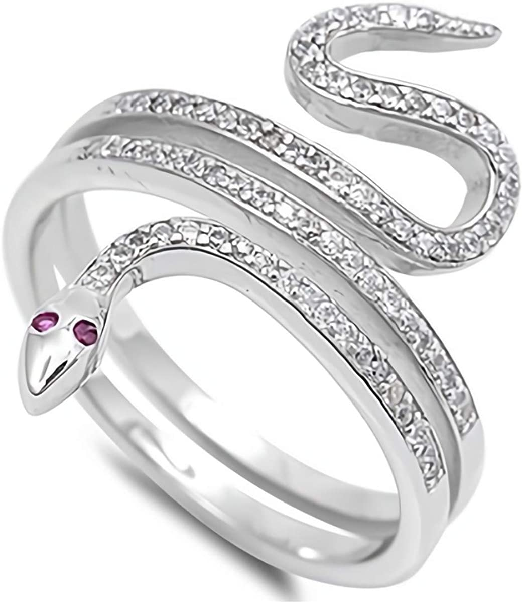 Glitzs Jewels 925 Sterling Silver CZ Ring (Red & Clear/Snake) | Cubic Zirconia Jewelry Gift