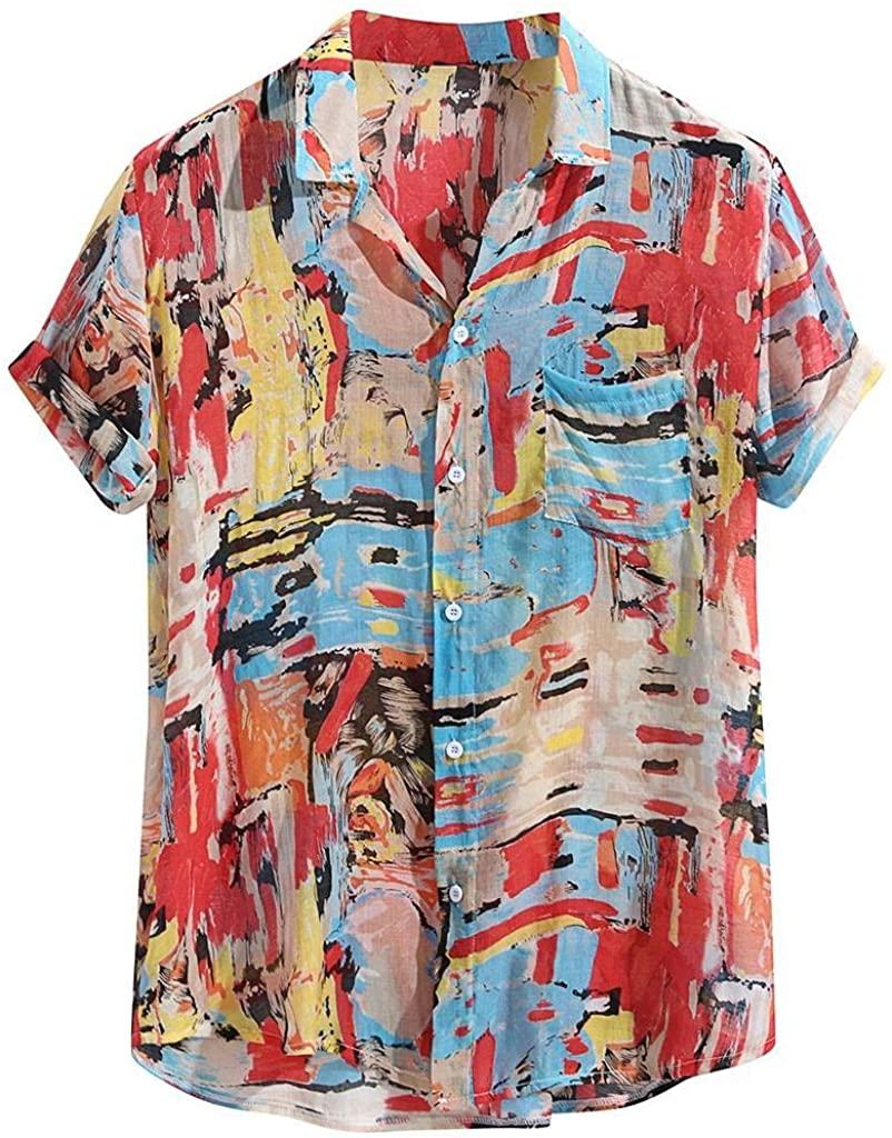 terbklf Hawaiian Shirts for Men Men's Casual Short Sleeve Shirt Men's Cotton Button Down Shirt Slim Fit Tops Plus Size