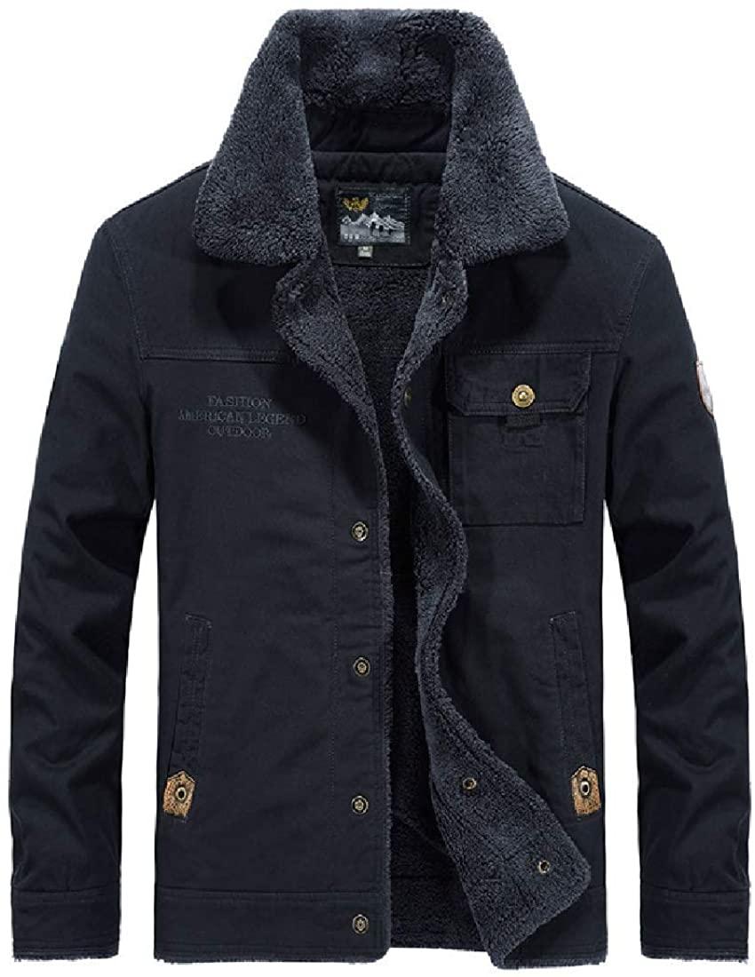 Xudcufyhu Men's Thicken Slim Sherpa Lined Fleece Outerwear Button Down Jacket Coat