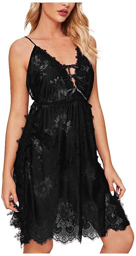 Women's Sexy Eyelash Lace Night Dress Lingerie Sling Skirt Underwear Pajamas Black