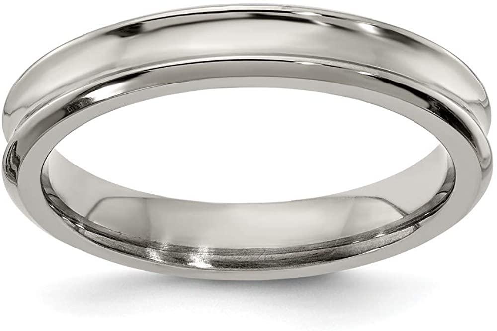 Solid Titanium Men's Concave 4mm Ring Comfort-Fit Band