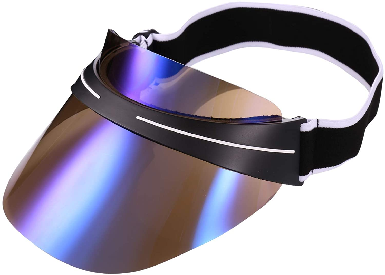 Sun Visor Cap, Summer UV Protection Sport Sun Visor Hat for Women Men with Adjustable Elastic Strap and Transparent PC Lenses
