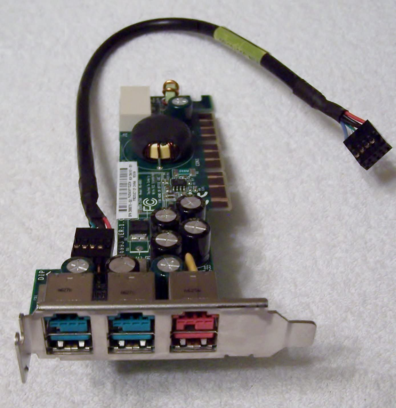 HP 398879-001 Powered USB PCI board - Has three powered USB connectors, two 12V and one 24V