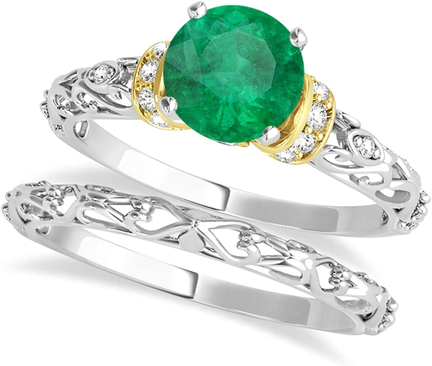 (0.87ct) Two-Tone Gold Emerald and Diamond Antique-Style Bridal Set 18k