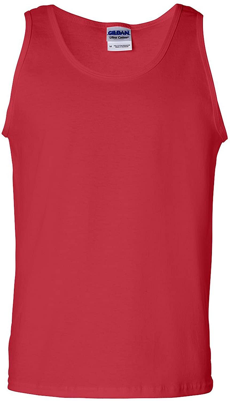 Gildan Adult 6.1 oz 100% Cotton Tank Top in Red