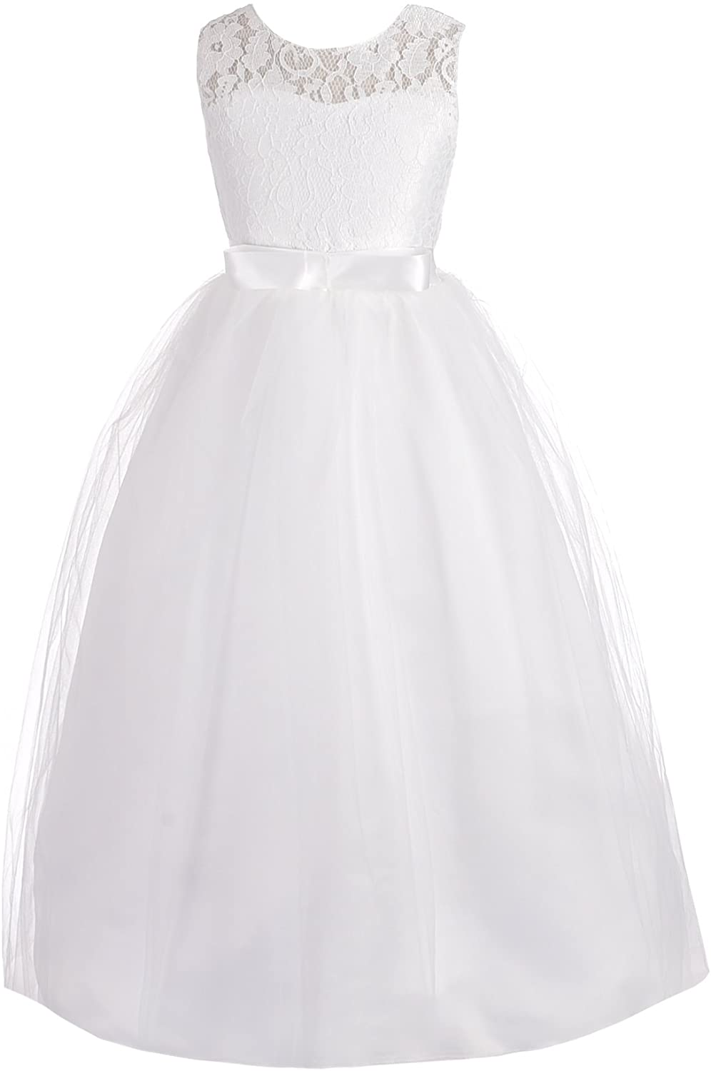 Dressy Daisy Girls Pageant Wedding Flower Girl Dresses Lace Ball Gown Floor Length
