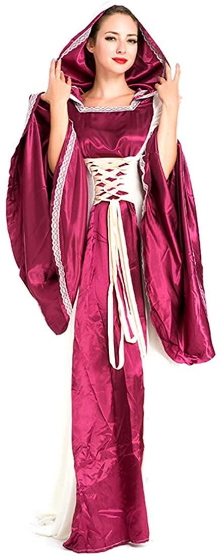 MV Purple Vintage European Court Big Red Halloween Queen Medieval Evening Dress