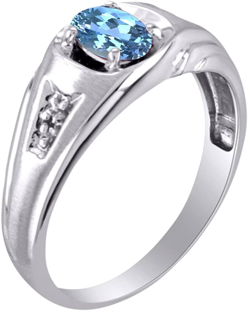Diamond & Blue Topaz Ring 14K Yellow or 14K White Gold