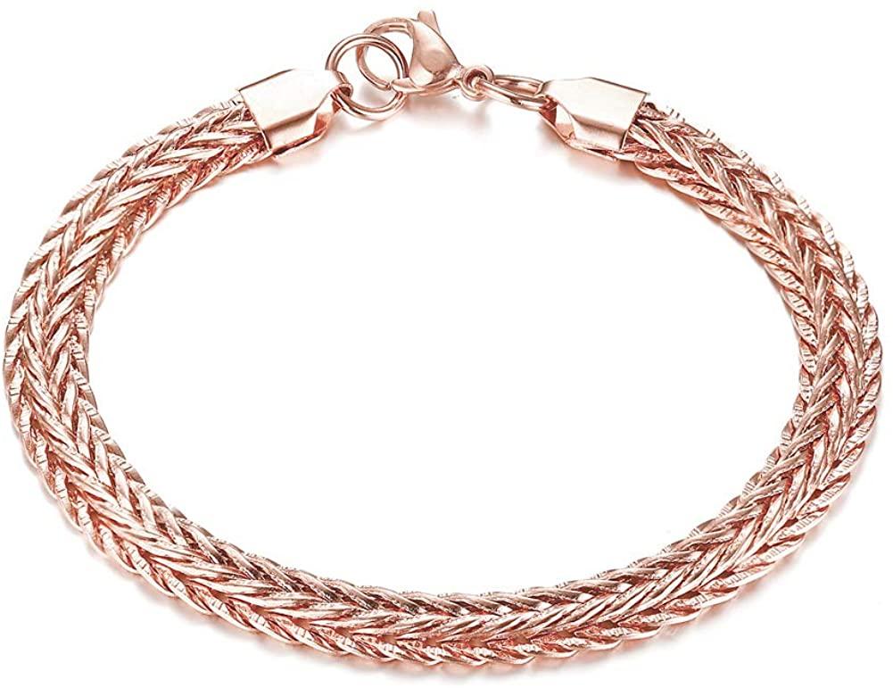 MPRAINBOW Unisex 18K Rose Gold Plated Stainless Steel Chain Bracelet Link Bracelet