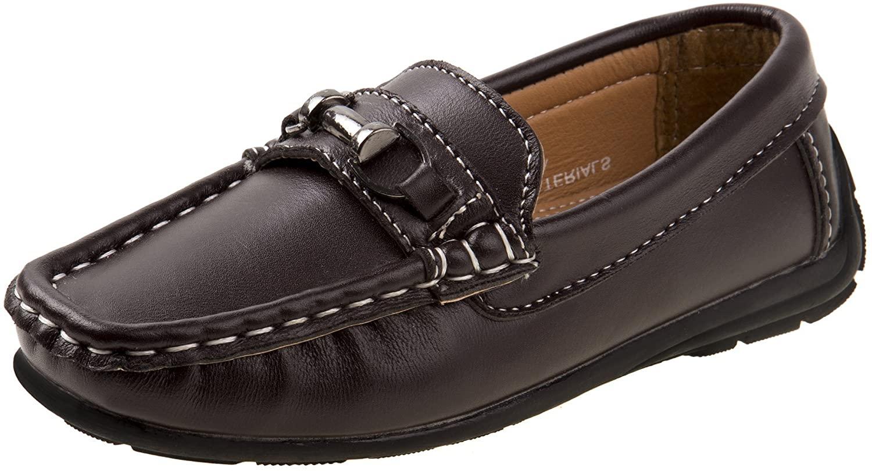 JOSMO Boys Casual Driving Slip-on Shoe (Toddler, Little Kid, Big Kid) (1 M US Little Kid, Brown Buckle)'