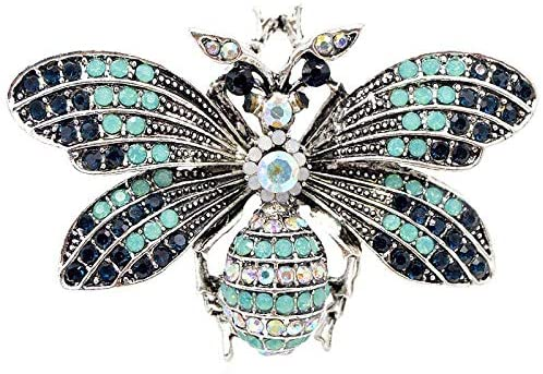 Harva Brooches - Vintage Rhinestone Vintage Big Bee Brooches Summer Coat Accessories Fashion Jewelry Good Gift - (Metal Color: None, Main Stone Color:)