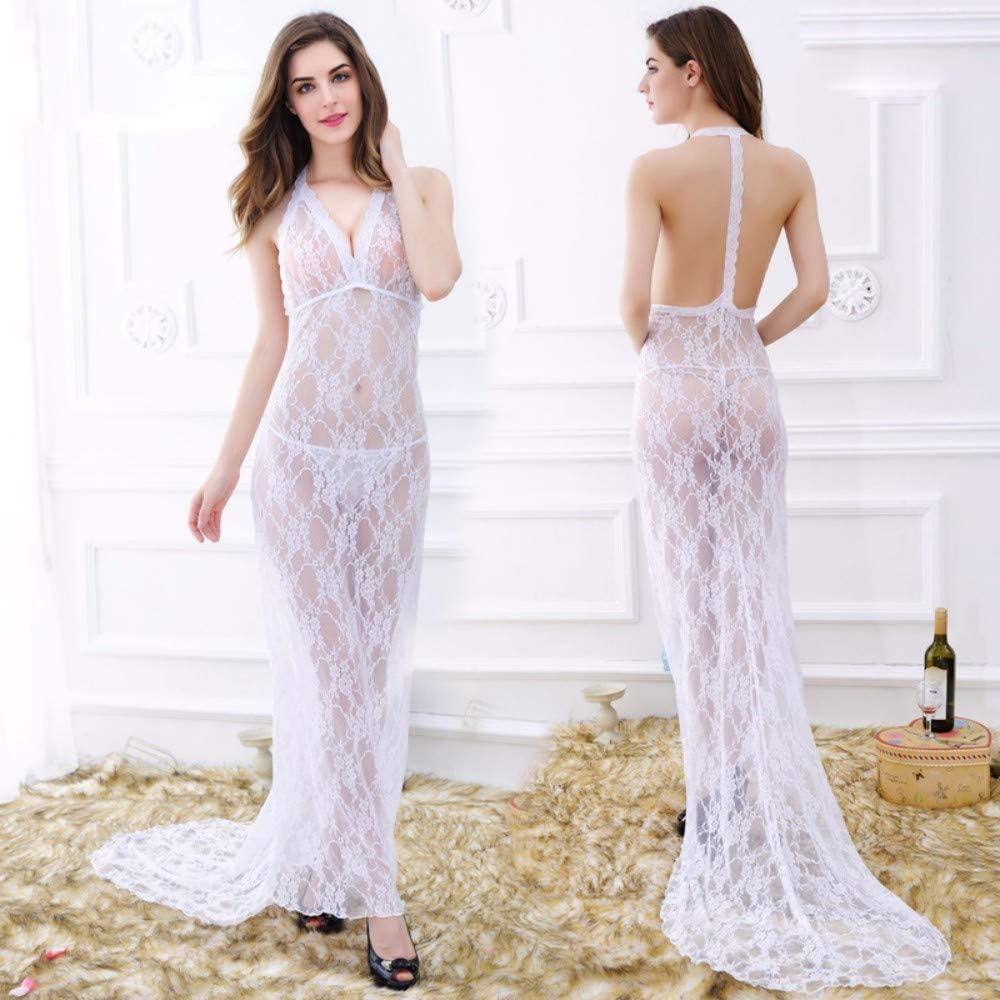 Sexy Pajamas Lace Necklace Dress, mop-up Dress, Super Long Dress, Elegant Goddess Sexy Night Club Show red Carpet