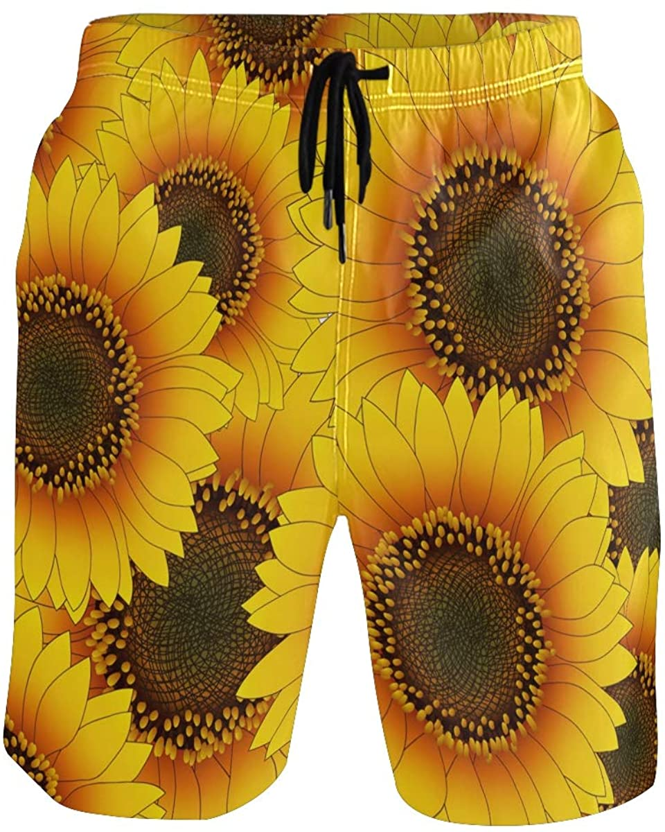 Mens Swim Trunks Quick Dry Yellow Sunflower Summer Boardshorts with Pocket