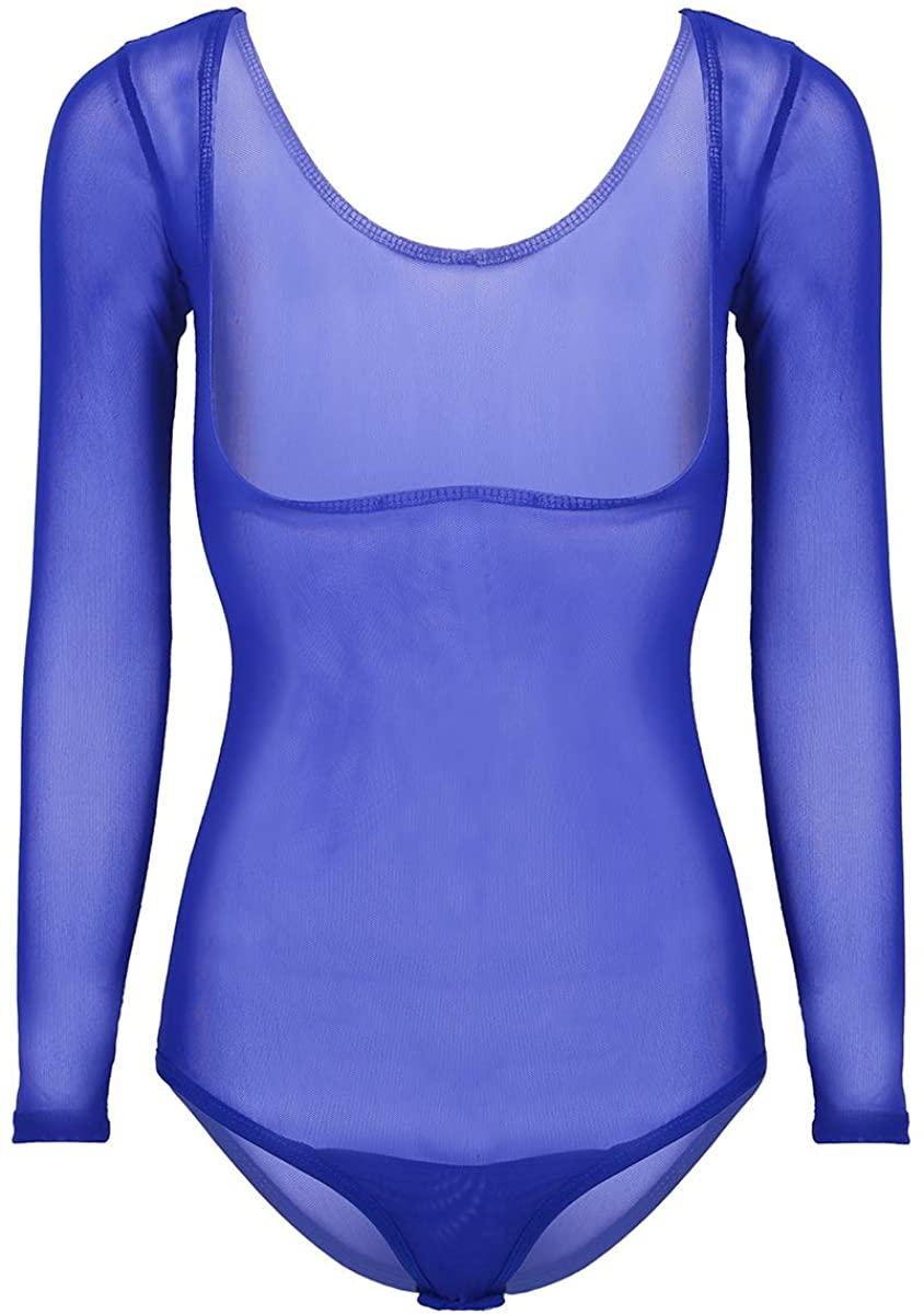 dPois Womens Soft Sheer Mesh Seamless Open Chest High Cut Leotard Thongs Belly Dance Bodysuit Lingerie