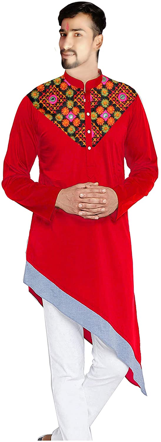 Lakkar Haveli Men's Cotton Kurta Embroidered Casual Shirt Wedding Wear Ethnic Tunic Red Color Plus Size