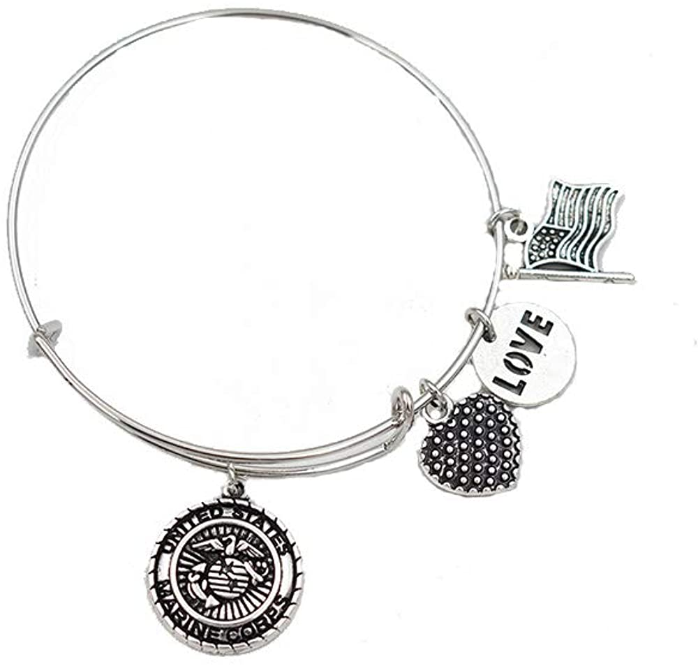 United States Marine Corps Bangle -Stainless Steel Bracelet- 7inch-8inch