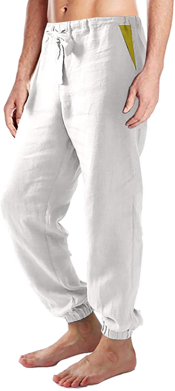 FASKUNOIE Men's Linen Cotton Pants Breathble Lightweight Patchwork Trousers with Three Pockets