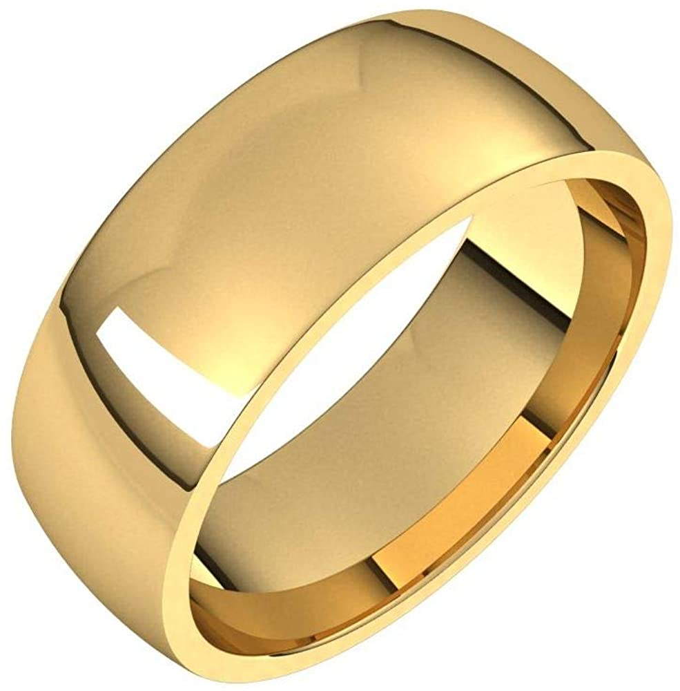 Solid 18K Yellow Gold 7mm Half Round Comfort Fit Light Wedding Band Size 6