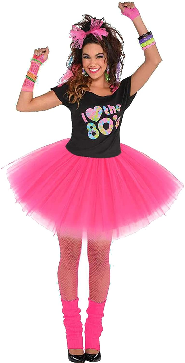 Womens 80s Costumes with Accessories Set Tutu Skirt Earrings Necklace Bracelets Fishnet Gloves Legwarmers Headband All in