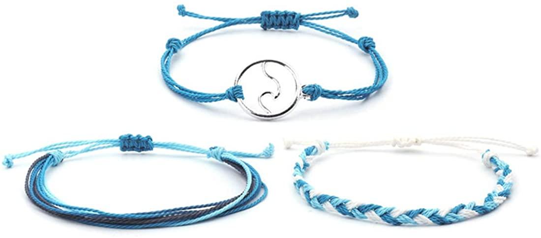 ZHEPIN 3PCS Braided Rope Bracelet Set Handmade Waterproof Wrap Bracelet Charm Woman Kids …