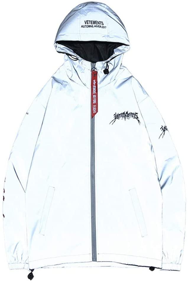 PUEEPDEE Reflective Jacket Men Reflective Jacket Hooded Windbreaker Fashion Runing Reflective Jackets for Men (Color : Photo Color, Size : M)