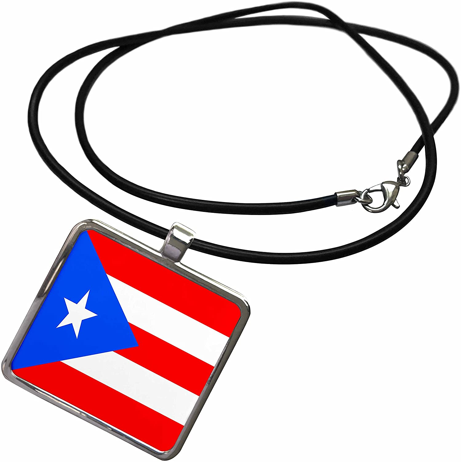 3dRose Flags - Puerto Rico Flag - Necklace with Rectangle Pendant (ncl_28274)