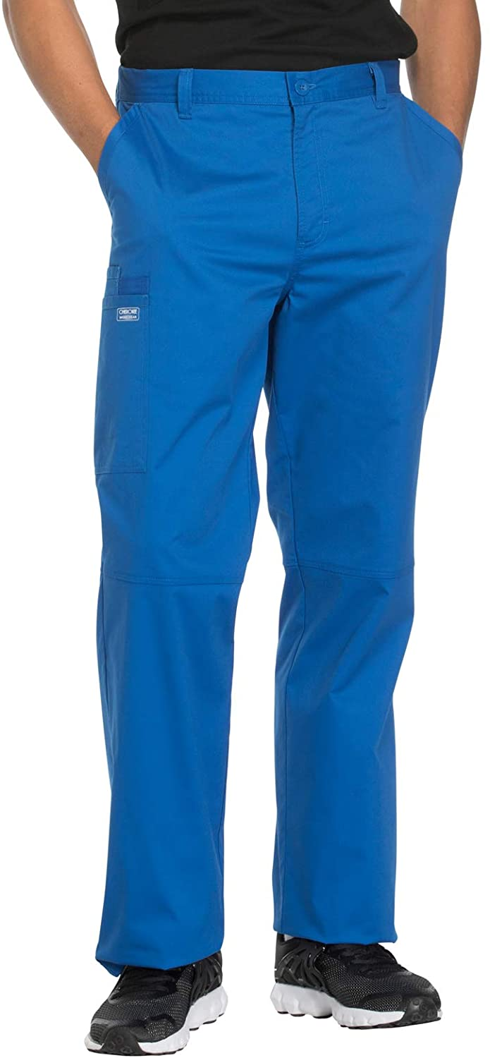 Cherokee Workwear Core Stretch Men's Fly Front Scrub Pant, 2XL, Royal