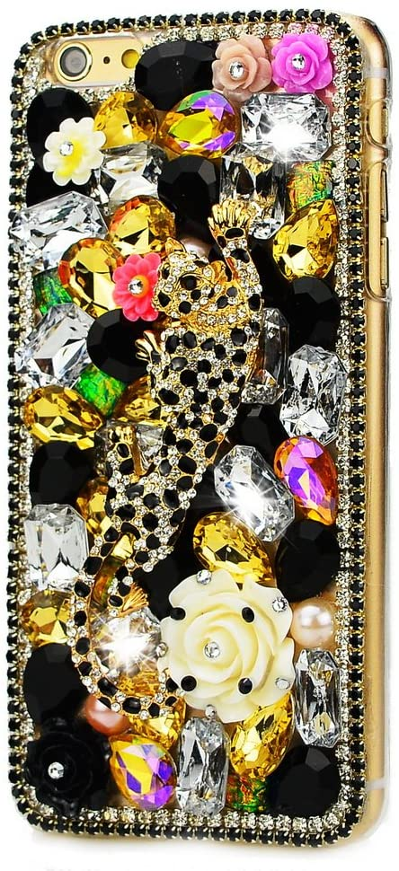 STENES ASUS ZenFone 4 Max Case - STYLISH - 100+ Bling Crystal - 3D Handmade Leopard Edge Chain Flowers Design Protective Case For ASUS ZenFone 4 Max - Gold
