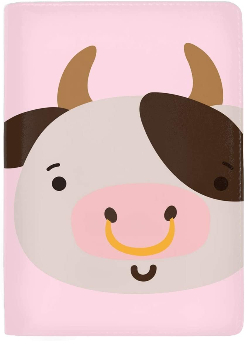 Colorful Happy Cow Head Wild Animal Passport Holder Cover Wallet RFID Blocking Leather Card Case Travel Document Organizer