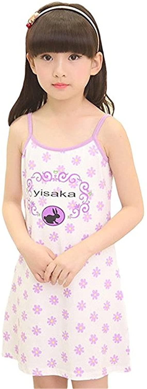 REWANGOING Little Kids Girls Sleeveless Solid Nightgown Pajamas Sleepwear Dress