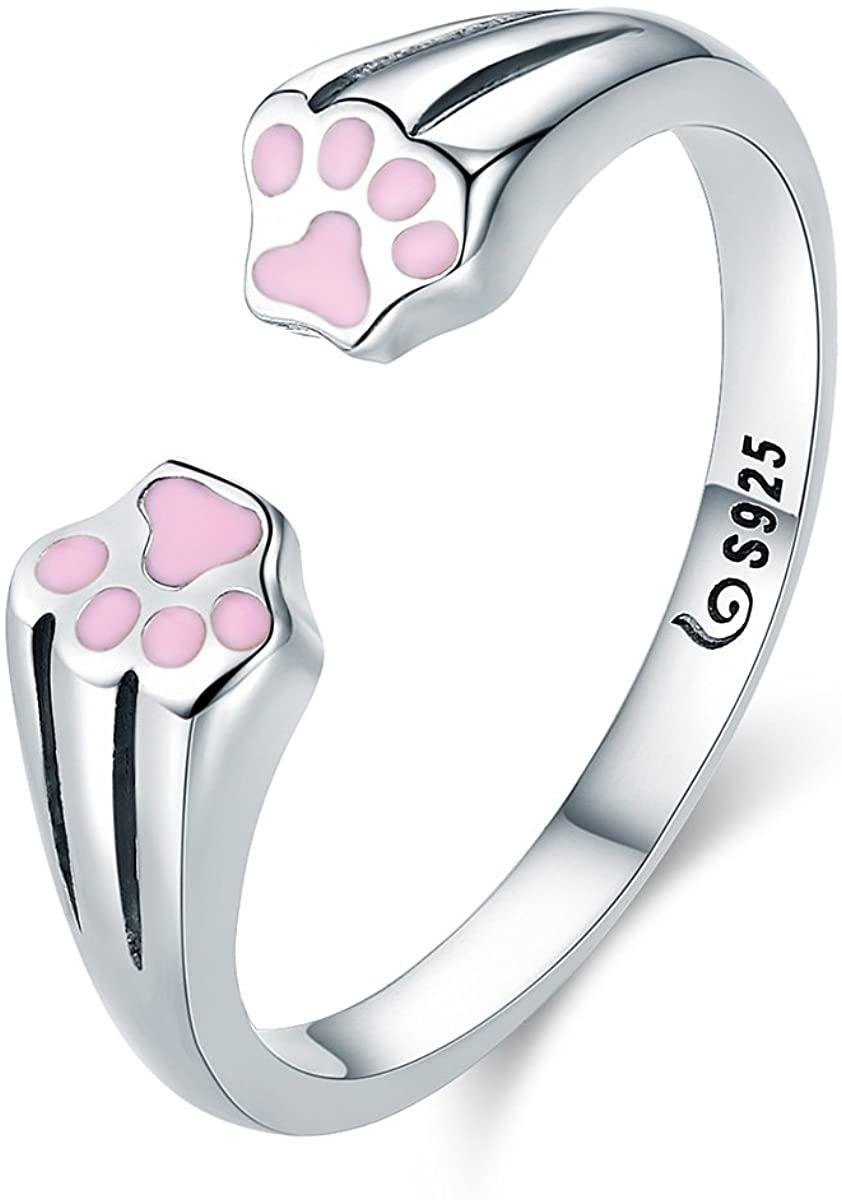 Everbling Pet Dog Cat Paw Footprints 925 Sterling Silver Adjustable Ring, Pink Enanmel