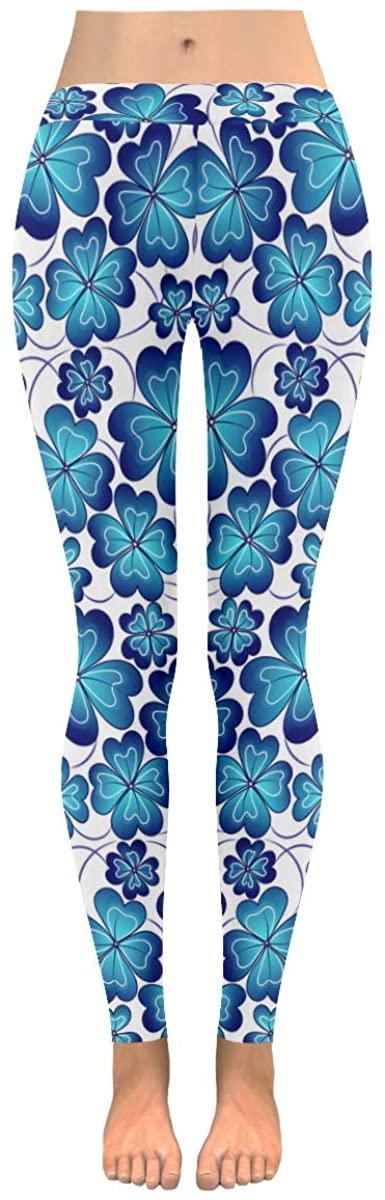 Leggings for Women Four Leaf Luck Flower Blue Yoga Pants for Girls Workout Sport Gym