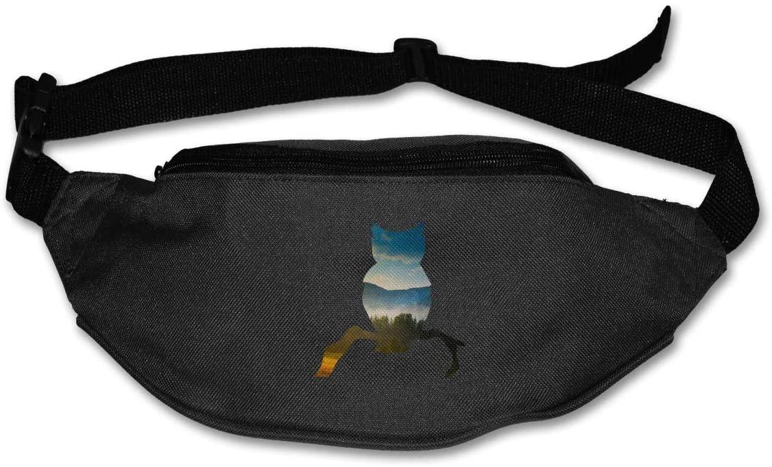 SWEET-YZ Unisex Waist Pack Owl Landscape Flat Fanny Bag Pack for Sport Running