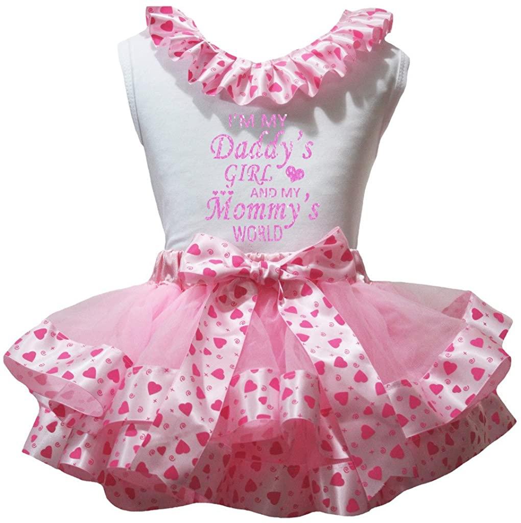 Petitebella I'm My Daddy Girl White Shirt Dots Hearts Pink Petal Skirt Nb-8y
