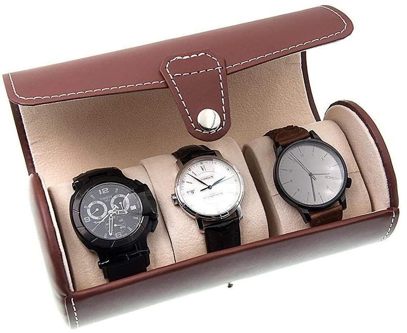 AWZSDF 3-Position Cylinder Watch case - Travel Watch Organizer Watches Case Leatherette Roll Watch Storage Pouch Jewelry Box,B