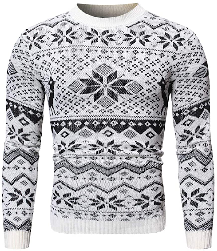 Hajotrawa Men Fashion Crewneck Pullover Knit Christmas Sweater
