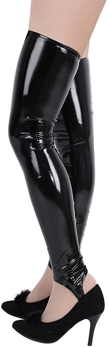 MSemis Women Black Shiny Patent Leather PVC Thigh High Stirrup Tights Stockings