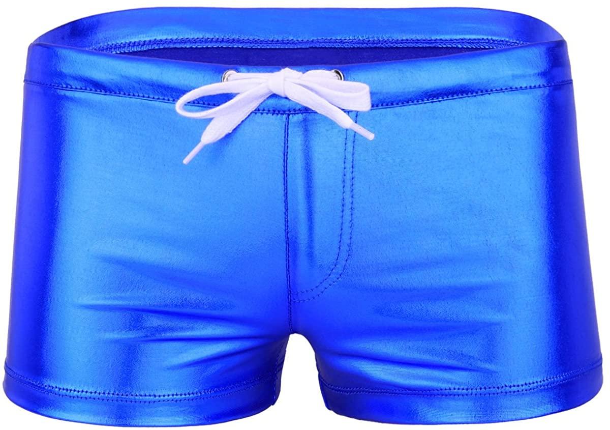 iiniim Mens Faux Leather Drawstring Underwear Boxer Briefs Swimwear